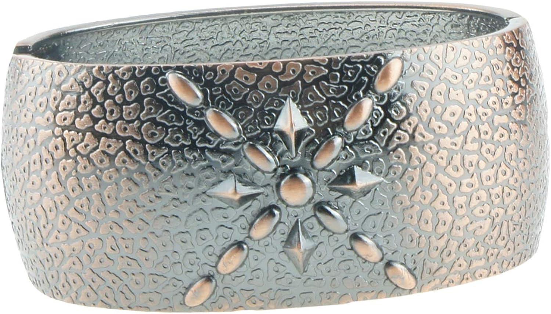 UJOY Vintage Antiqued Engraved Bracelet Opening Hinged Wide Cuff Bangle Statement Jewelry Gift Box 7719