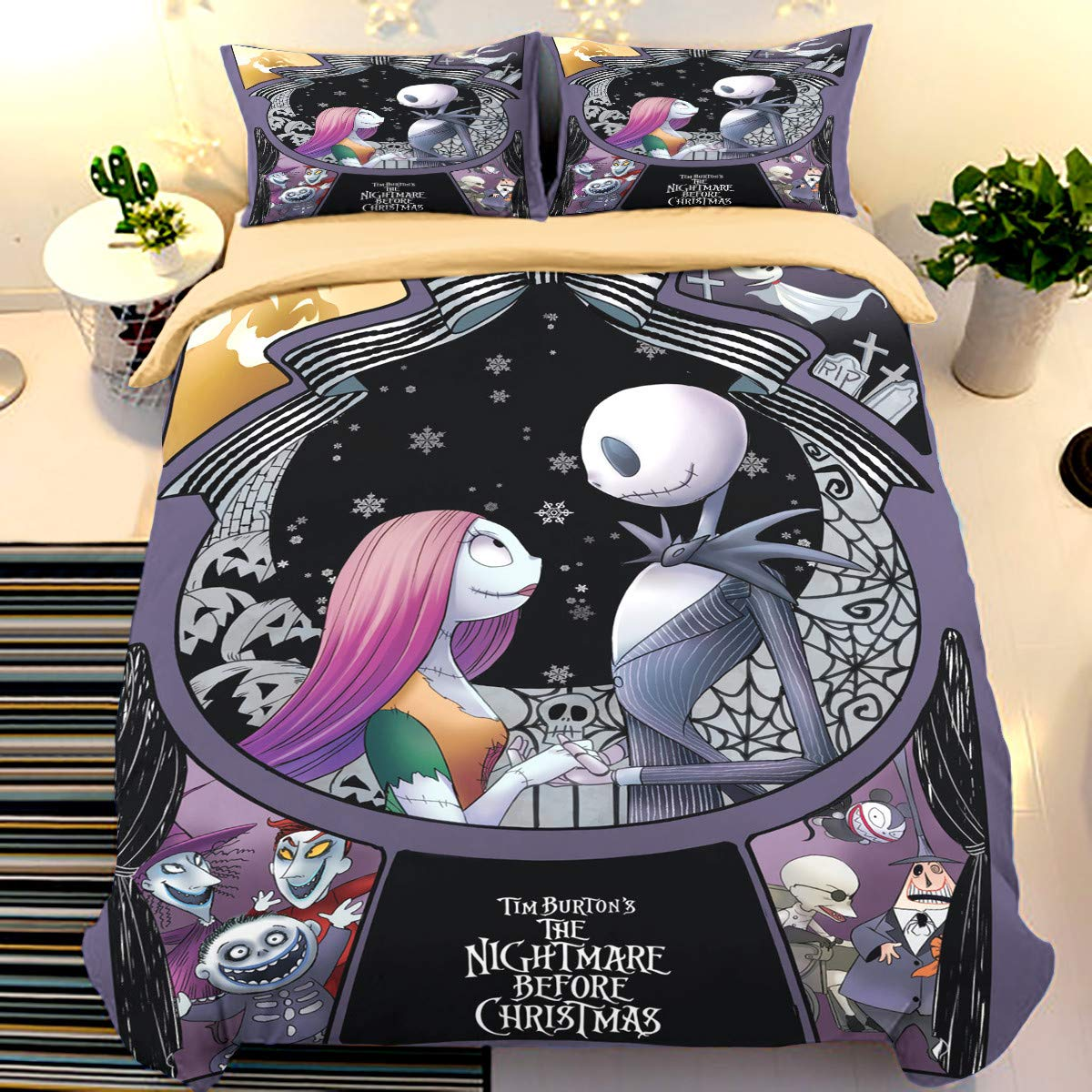 Guidear Nightmare Before Christmas Duvet Cover with 2 Pillowcases Cartoon Skull Bedding Set