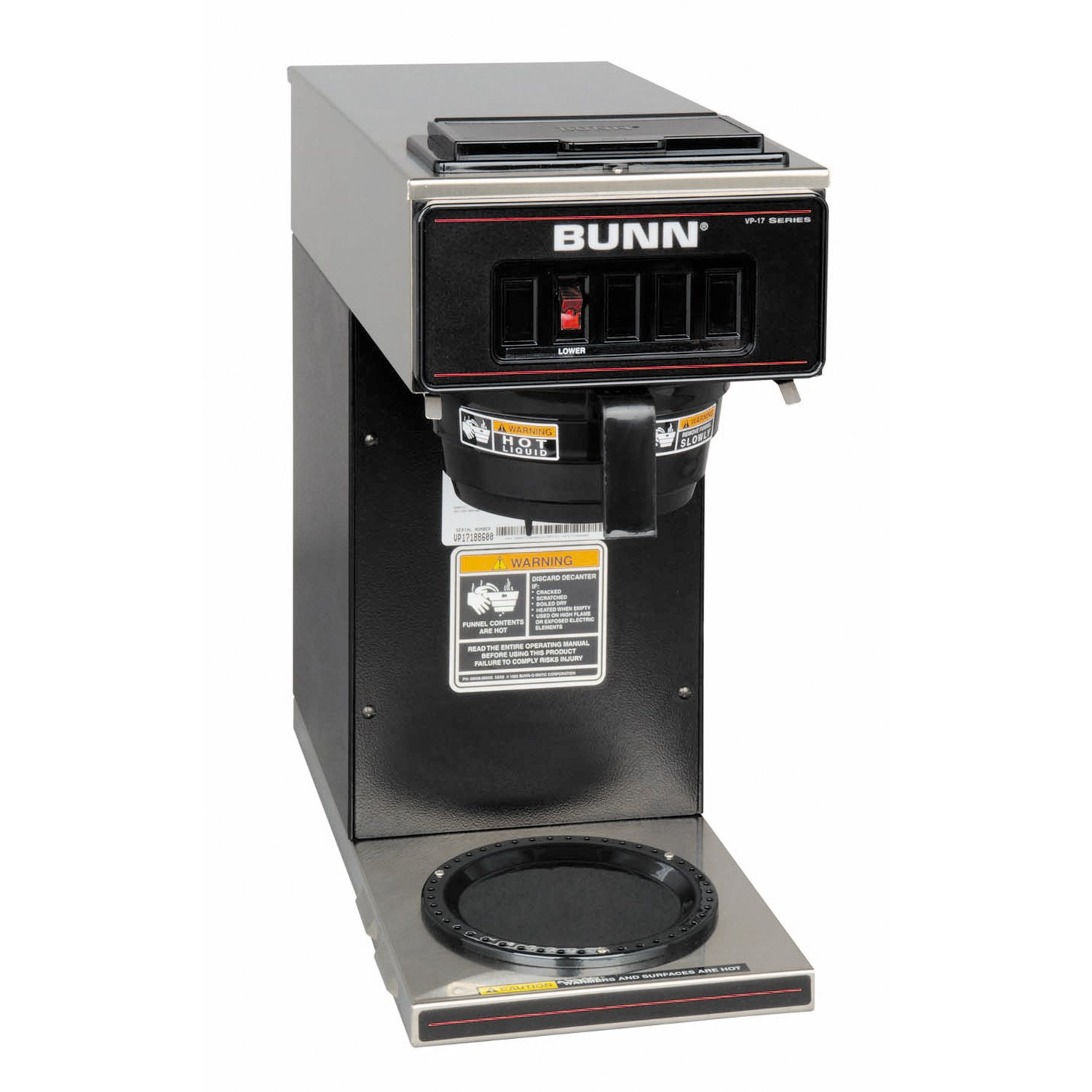 BUNN 13300.0011 VP17-1BLK Pourover Coffee Brewer with One Warmer, Black