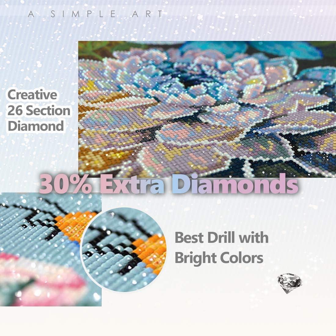 Maysurban DIY Pintura Diamante 5D Kits de Diamante DIY Pintura Diamante Bordado Completo 5D Diamond Painting Completo Full Flor amarilla 40x30cm
