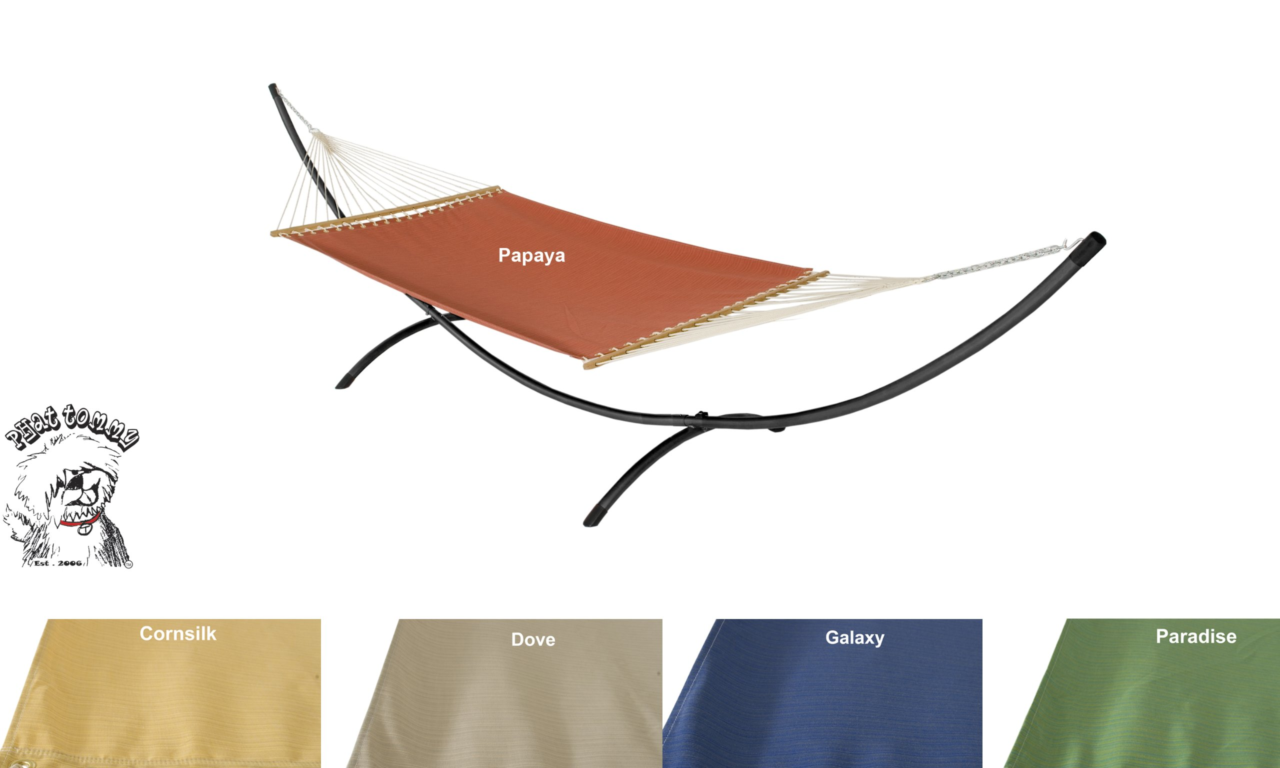 Phat Tommy Outdoor Sunbrella Garden Hammock and Stand Set - For your Backyard and Pool Area. Made in the USA, Dove