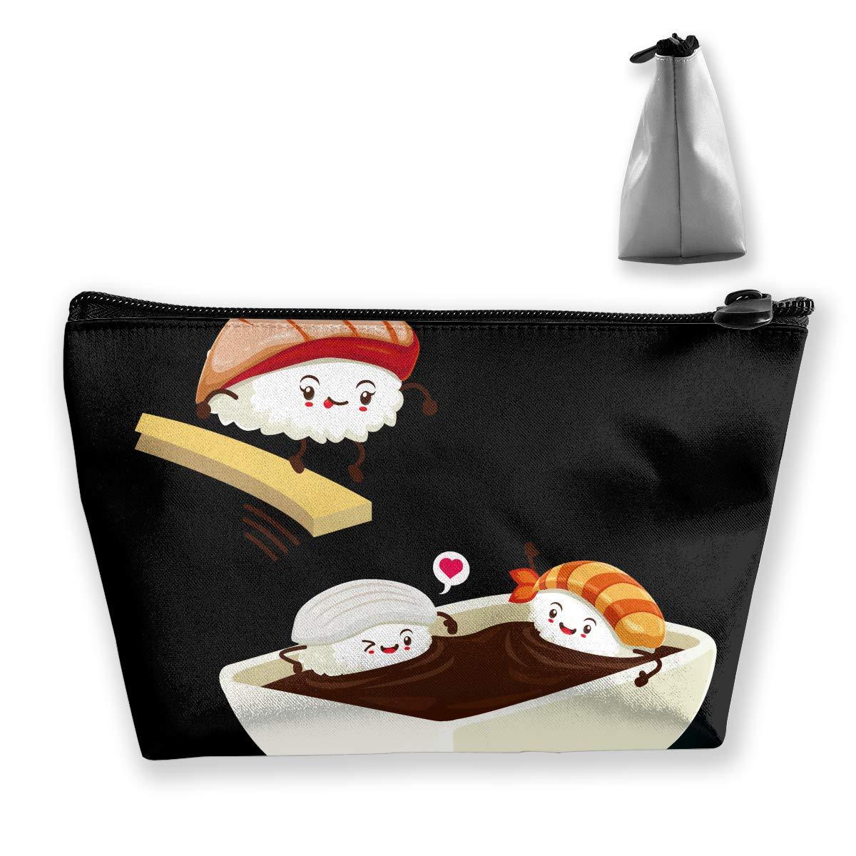 Trapezoid Toiletry Pouch Portable Travel Bag Sushi Take Shower Zipper Wallet