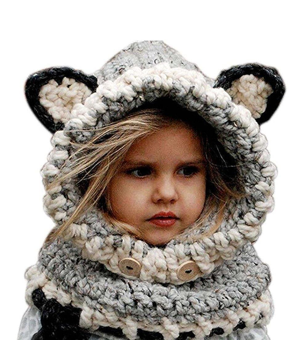 Freessom Bonnet Echarpe Set Hiver Cagoule Renard Unisexe Bebe Enfant Garcon Fille Mignon Kawaii Chaud Tricote Laine Chapeau Bobs Protection d'oreilles MZ028