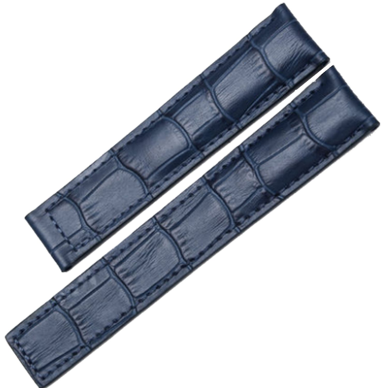 22 mmブルーアリゲーターエンボスDeployment Leather Watch Strap Band for Deployment Clasp  B07174NV13