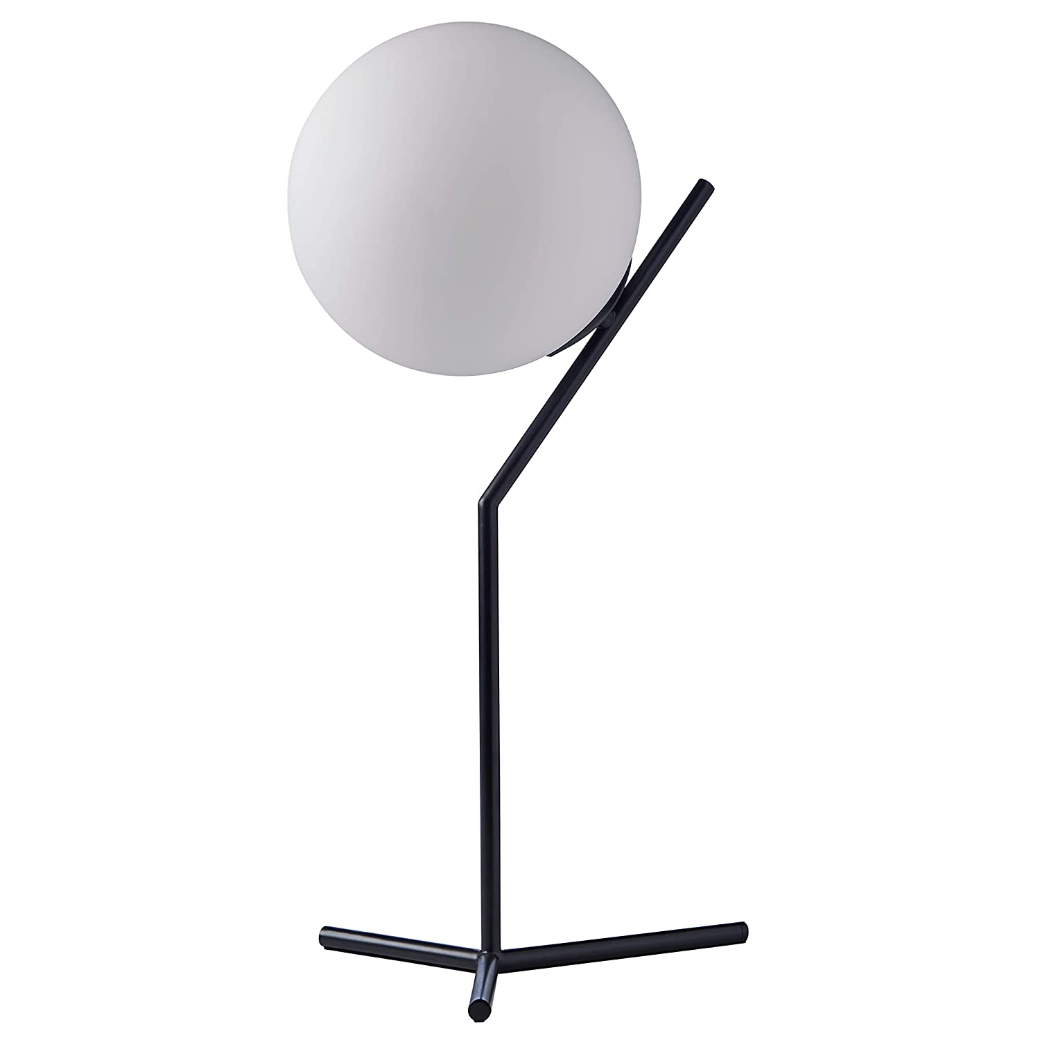 """Rivet Glass Ball and Metal Table Lamp – Matte Black, 21.5"""" H, with Bulb"""