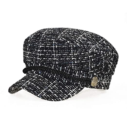 006bdf29f Women Winter Newsboy hat Warm Plaid Tweed caps Flat top Visor caps ...