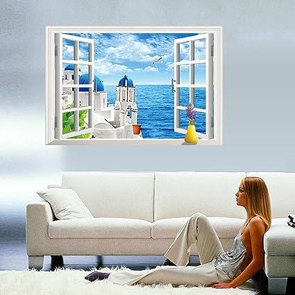 3d finta finestra stile mare Scenery parete in pvc adesivo ...