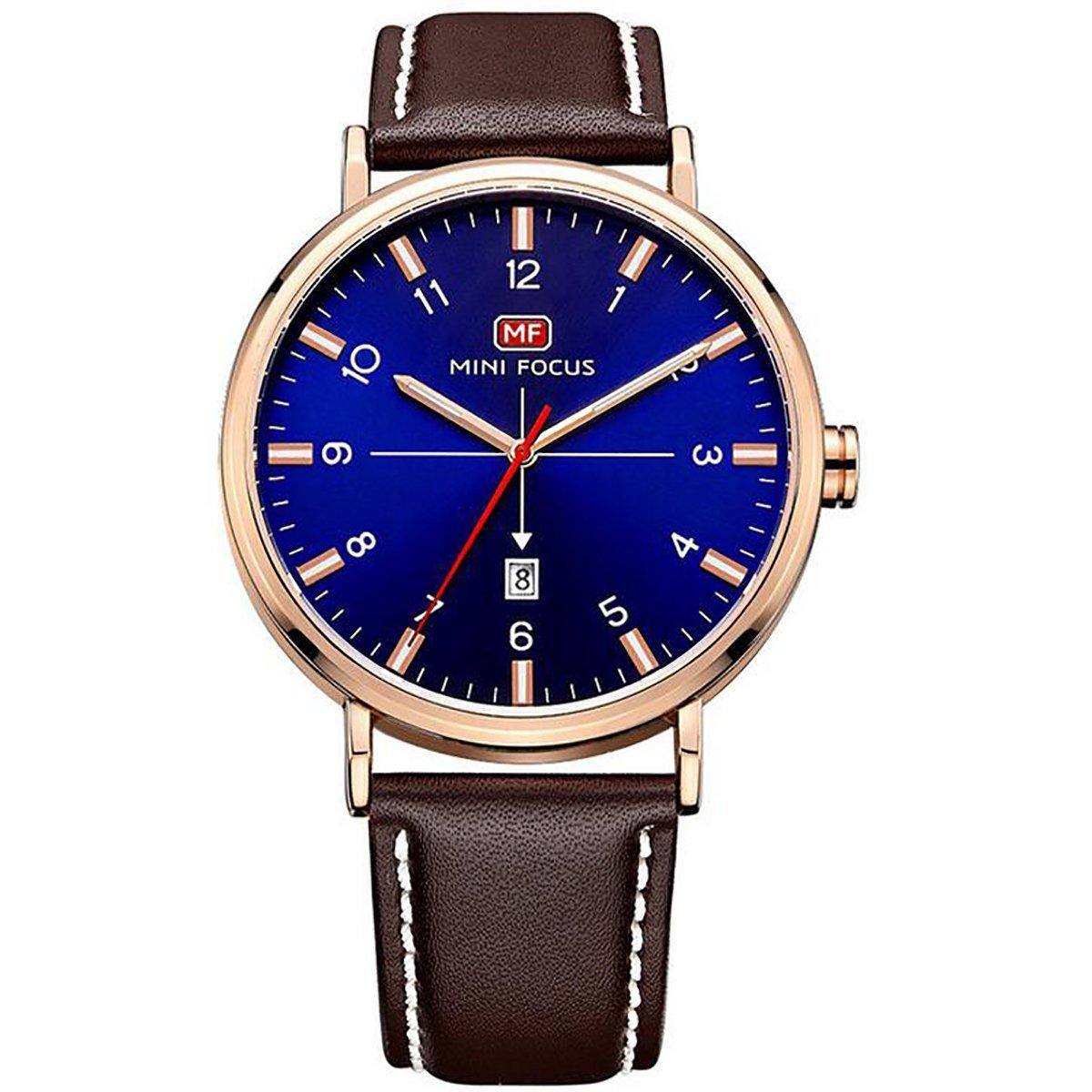 longqi Armbanduhr Wasserdicht Business Style Herren Uhren mit Quarzwerk Kalender Armbanduhr blau