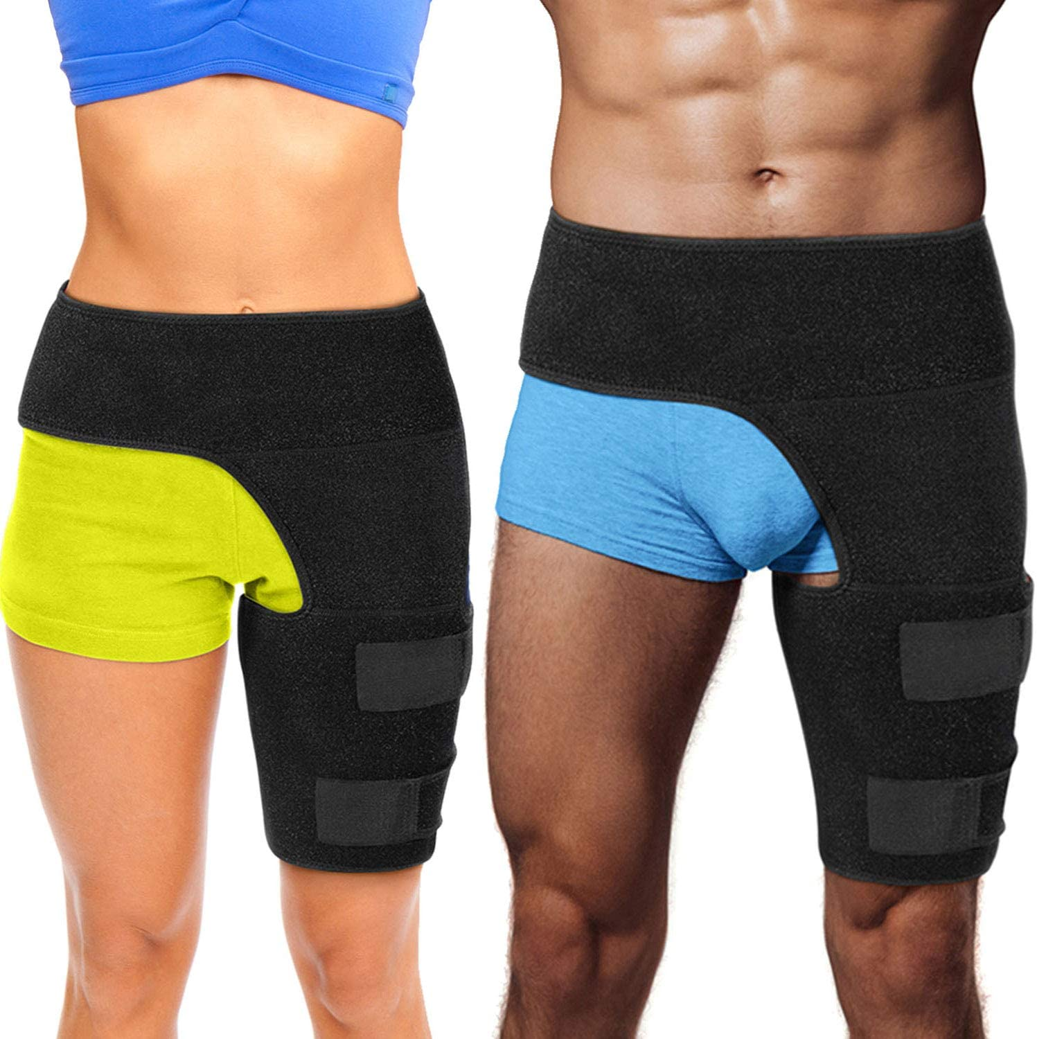 Hip Brace Thigh Compression Sleeve – Hamstring Compression Sleeve & Groin Compression Wrap for Hip Pain Relief. Support for Hip Replacements, Sciatica, Quad Muscle Strains Fits Both Legs (SM/Left): Industrial & Scientific