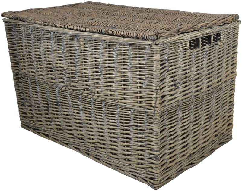 Wovenhill Grey Wicker Medium Storage Trunk Hamper W75 x D38 x H45cm (Grey, Medium)