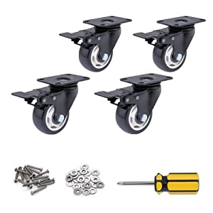 Locking Wheels for Table Heavy Duty,Furniture Casters Support 600lbs,Screws and Installation Tools,Safety for Floor,Noiseless Casters for Moving Computer Table,Bench,BBQ Drill,2inch,Set of 4 …