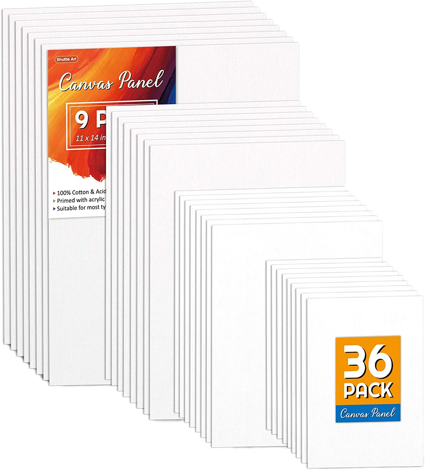 Shuttle Art Painting Canvas Panel, 36 Multi Pack, 5x7, 8x10, 9x12, 11x14 inch (9 PCS of Each), 100% Cotton Art Canvas Board Primed White, Blank Canvas for Kids Adults for Acrylic Oil Paintingainting