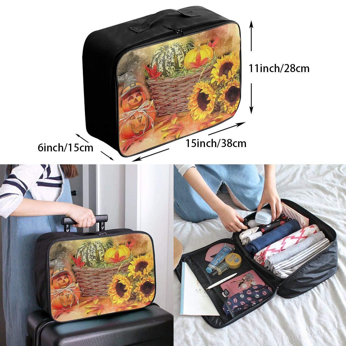 Autumn Halloween Harvest Pumpkin Travel Lightweight Waterproof Foldable Storage Carry Luggage Large Capacity Portable Luggage Bag Duffel Bag