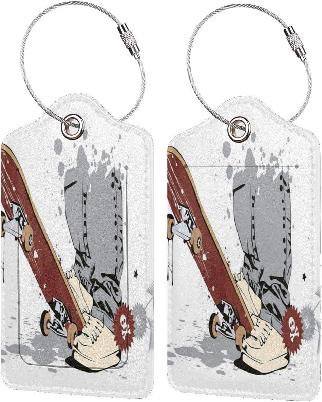 ZOANEN Etiquetas para Equipaje,Monopatín con pies de niño en Zapatillas y Jeans ilustración,2 Piezas Etiquetas de Equipaje de Viaje Etiquetas de Identificación de la Maleta para Maletas,Mochila