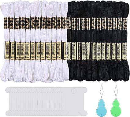 Skeins Cross Stitch Threads Black /& White Cotton Embroidery Floss With 12 Pieces