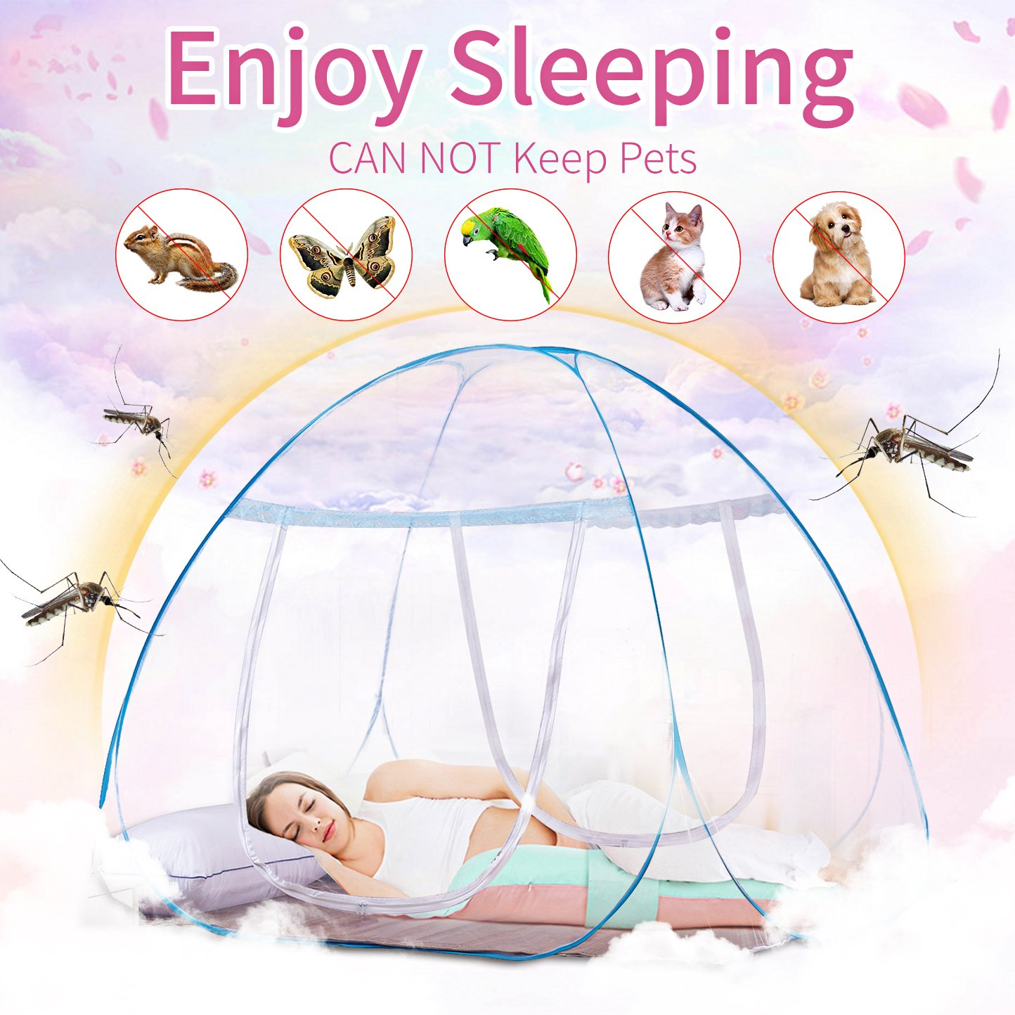 Bode.X Pop-Up Mosquito Net Tent, Portable Folding Anti Mosquito Bites 2 Openings&Bottom Design Boys Travel Baby Adults 71 x 80 x 59 inch szyry