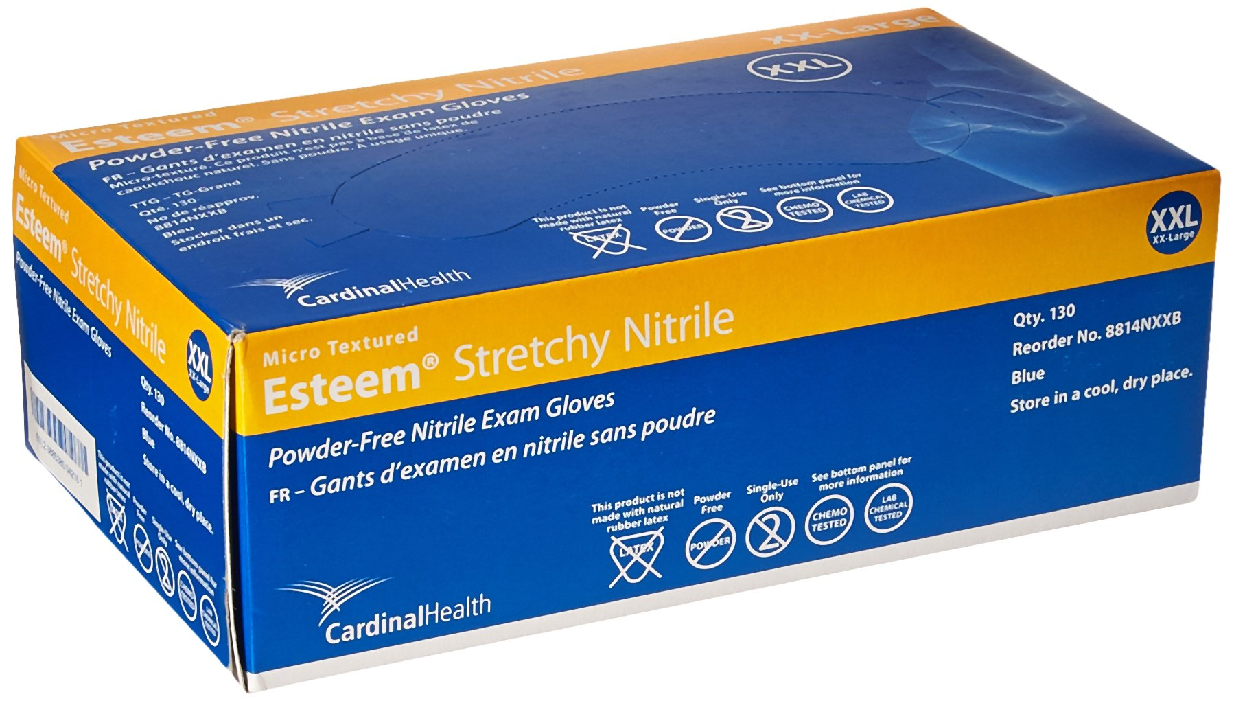 Cardinal Health Esteem 8814NXXB Nitrile Stretchy Micro Textured Examination Gloves, Size XX-Large (Case of 1500) by Cardinal Health (Image #2)