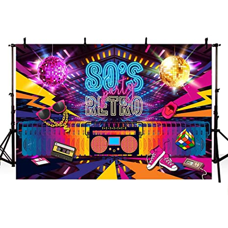 Amazon Com Mehofoto 8x6ft Retro Back To 80s Themed Party