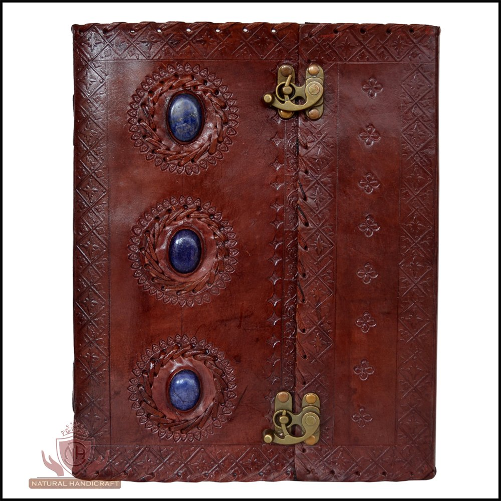 Leather Journal Three Chakra Medieval Stone Embossed Handmade Book of Shadows Notebook Office Diary College Book Poetry Book Sketch Book 7 x 10 Inches