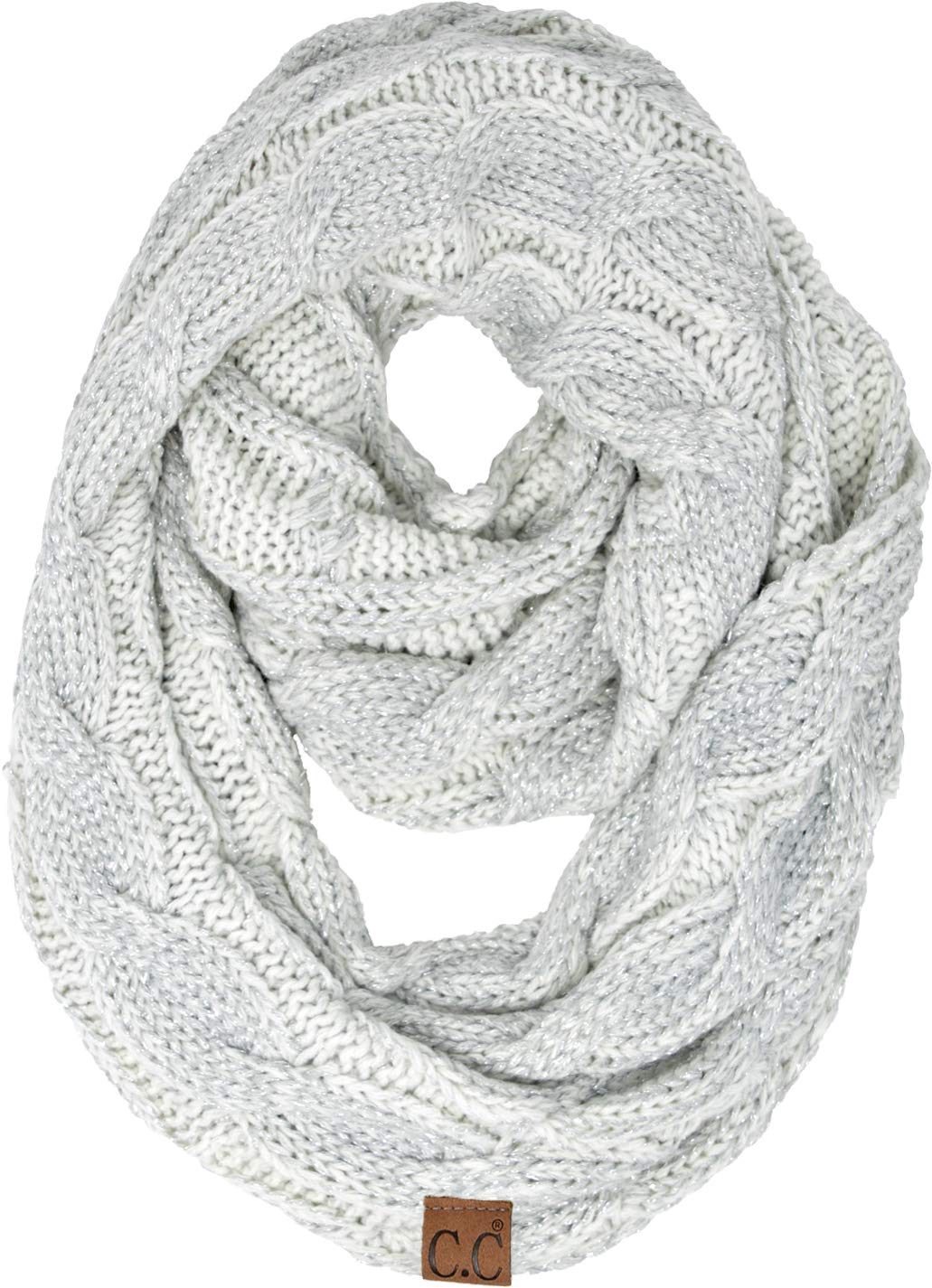 S1-6100-2501 Funky Junque Infinity Scarf - Metallic Ivory/Silver by Funky Junque