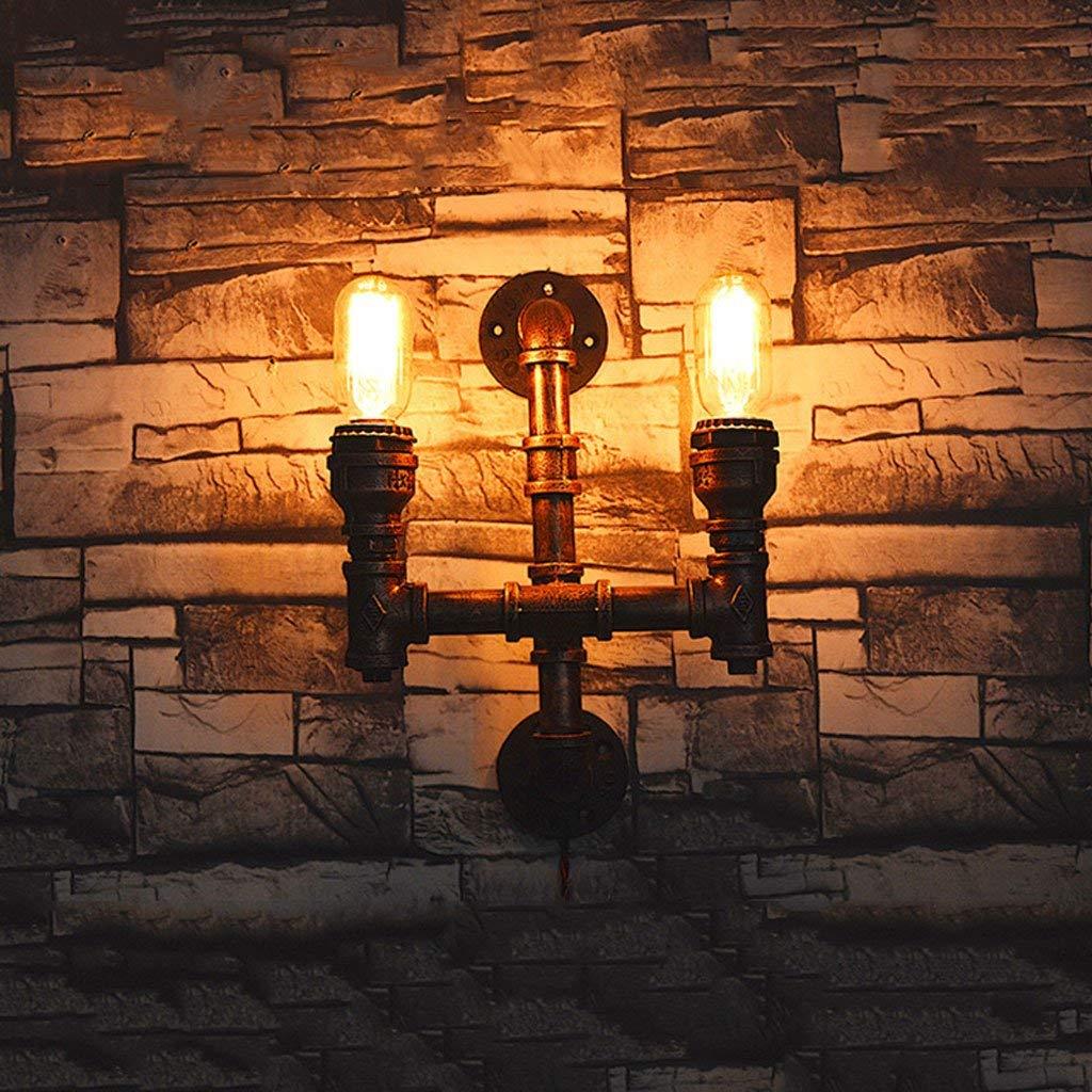 Cosa luce da parete retrò europea del ferro battuto della parete del tubo della lampada in ferro battuto Lampada da parete 2 testa Creative illuminazione Home Bar Ristorante Lighting
