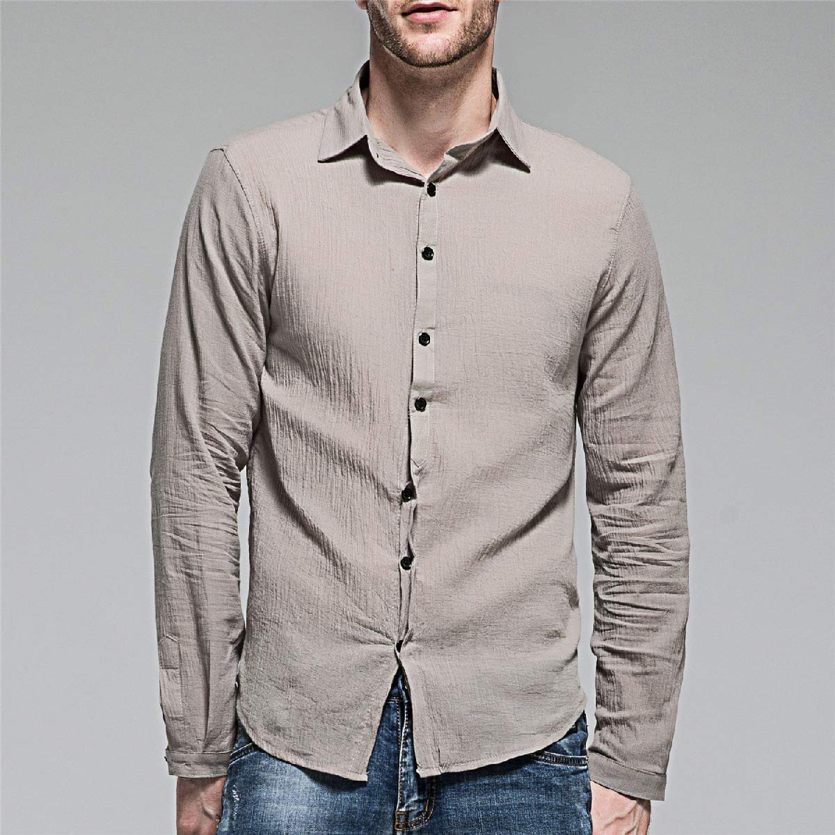 Abetteric Mens Solid Color Linen Long Sleeve Business Blouses and Tops Shirts