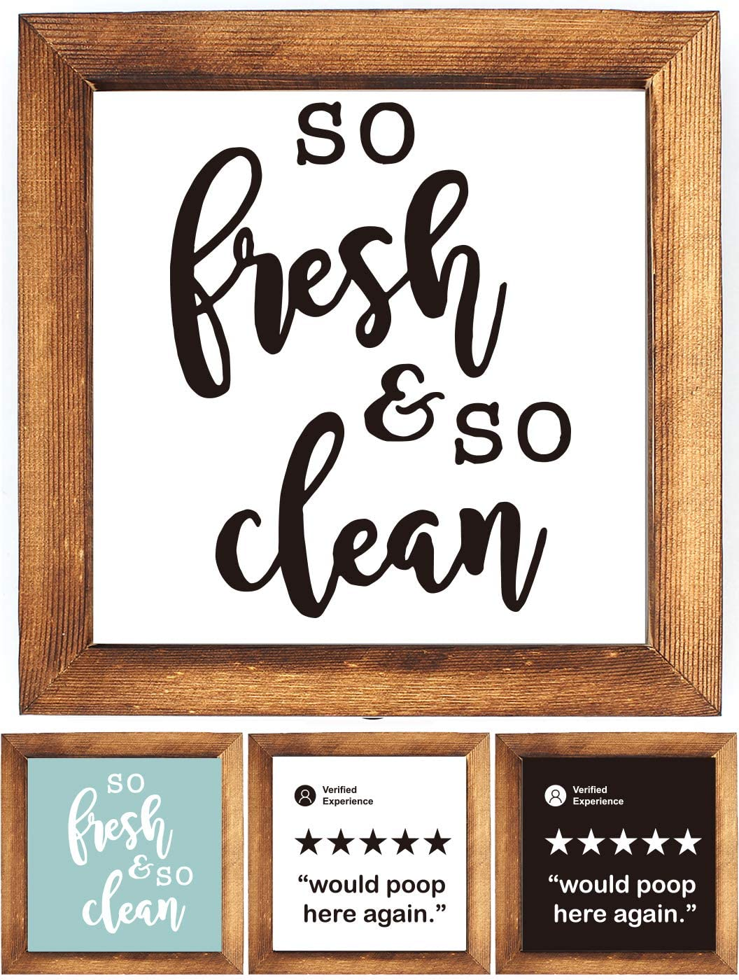 KU-DaYi Wood Framed Block Sign -So Fresh and So Clean Funny Bathroom Quote, Rustic Farmhouse Wooden Wood Framed Wall Hanging Sign Art Decor for Guest Bathroom Toilet Decoration