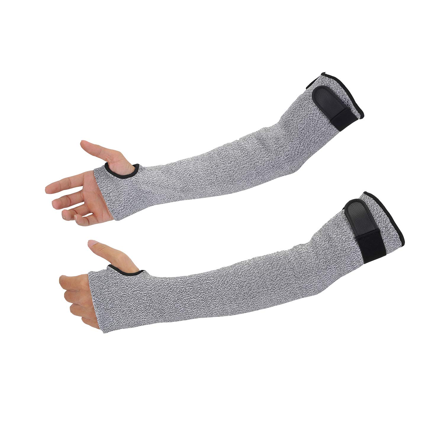 Cut Resistant Sleeves with Thumb Hole, Safety Protective Sleeves Abrasion Resistant with Level 5 Protection, Double Ply Arm Guards with 18 inch Long Soft Breathable Idea for Gardening Glass Handling