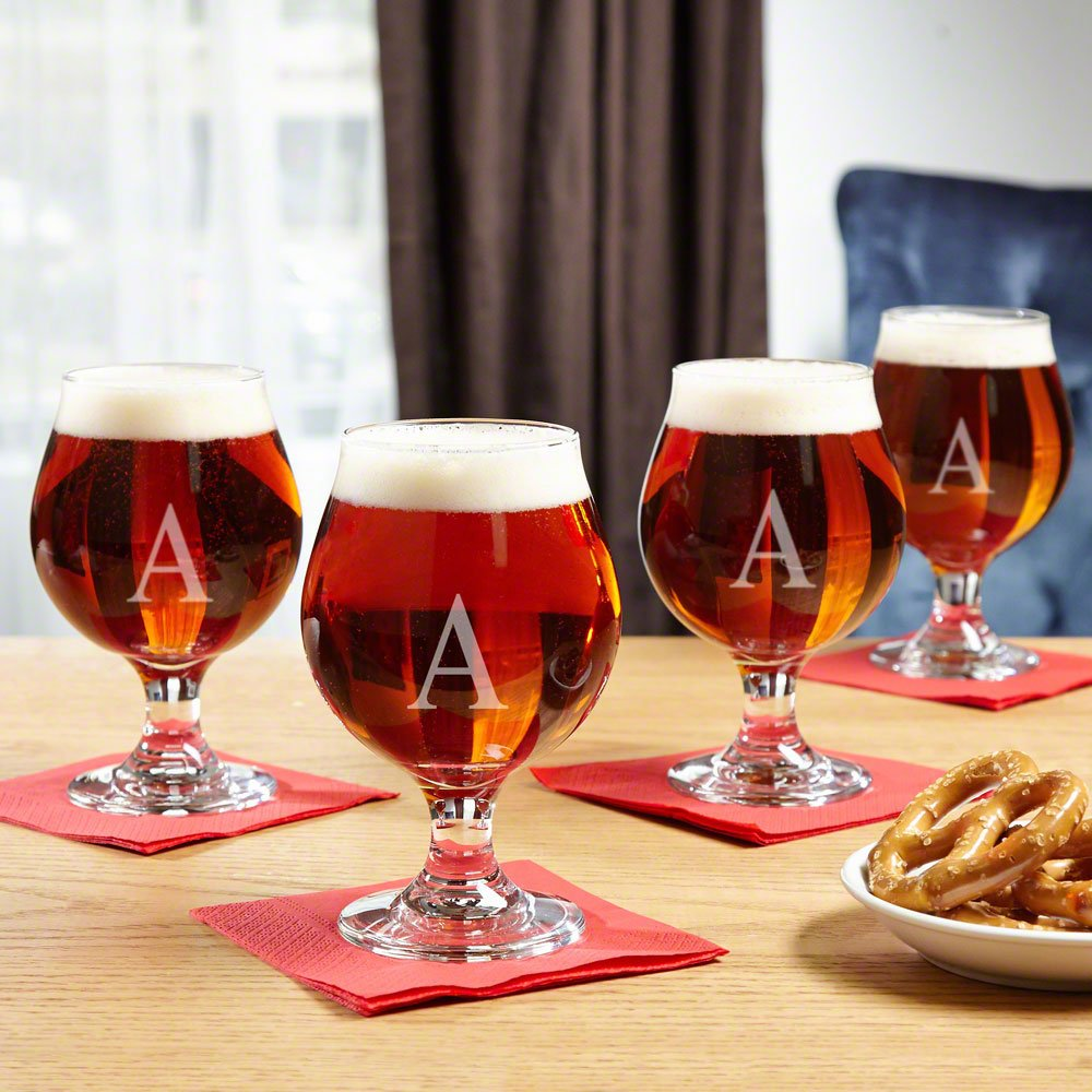 Classic Personalized Beer Snifter Set of 4 (Customizable Product) HomeWetBar