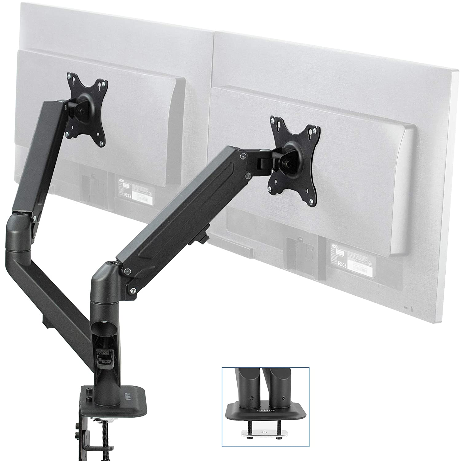 STAND-V002W VIVO White Dual 13 to 27 inch LCD LED Monitor Desk Mount Stand with C-clamp and Bolt-Through Grommet Heavy Duty Fully Adjustable Arms for 2 Screens