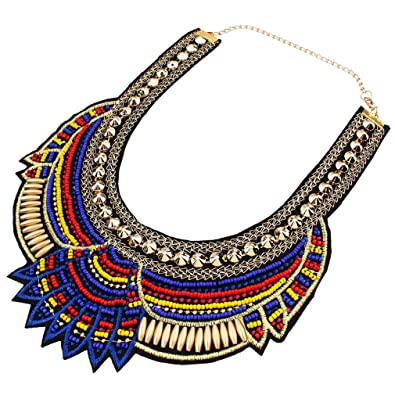 Yazilind Ethnic Style Multiple Millet Beads Chunky Chain Bib Statement Choker Collar Necklace for Women CgAoDvu