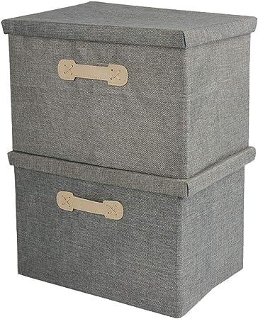 Speedmar Cajas organizadoras de Almacenamiento portátil (2 Grandes) con Cubierta de Tela para Aperitivos, Juguetes, Caja de Almacenamiento Plegable (Color: Gris, tamaño: Juego de 2), Gris, 2 Unidades: Amazon.es: Hogar