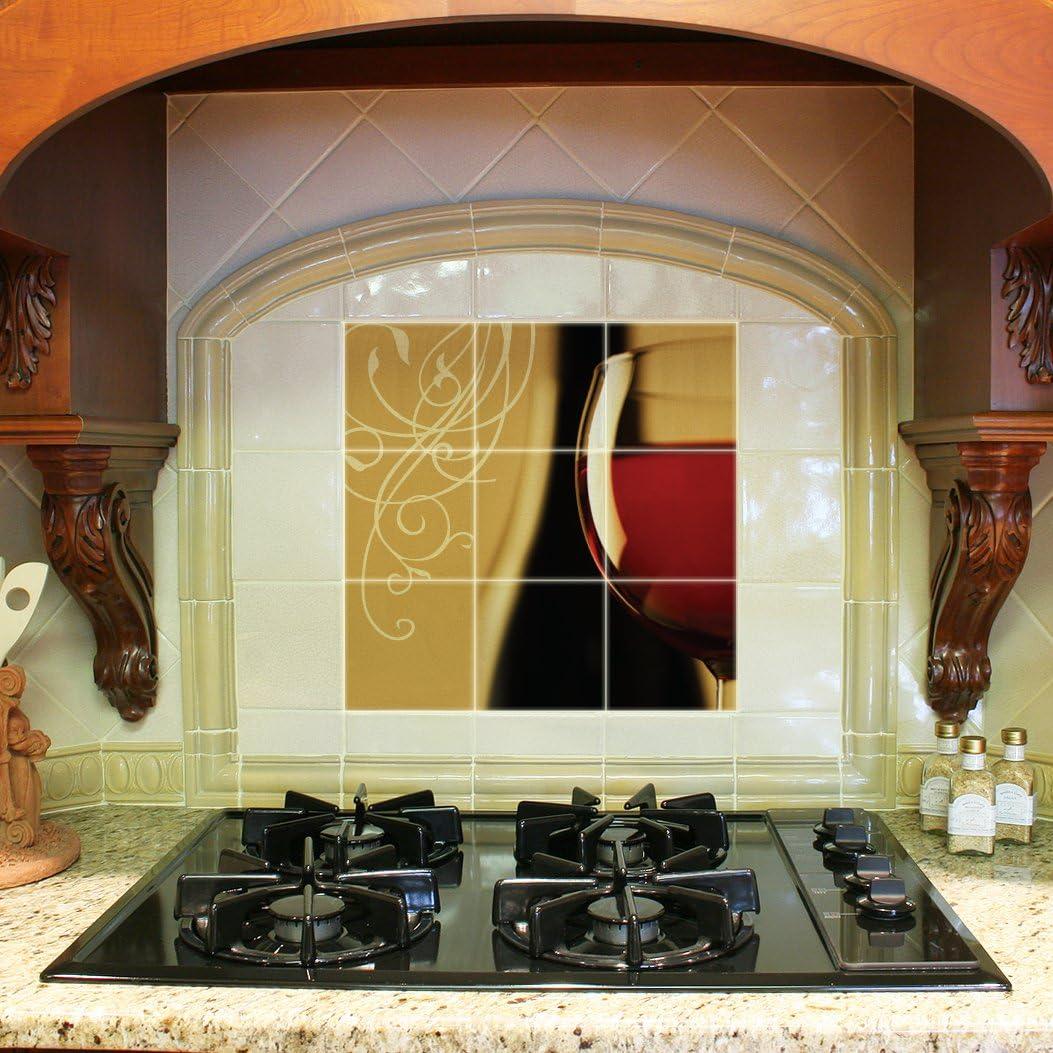 - Kitchen Backsplash Ceramic Tile - Red Wineglass - Nine 4.25
