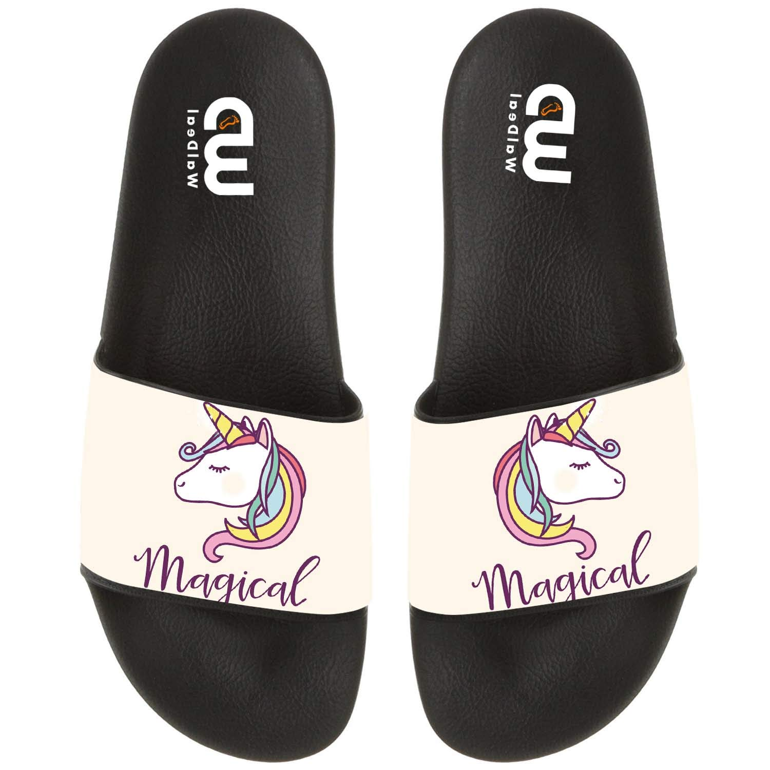 Rainbow Magical Unicorn Summer Slide Slippers For Girl Boy Kid Non-Slip Sandal Shoes size 2