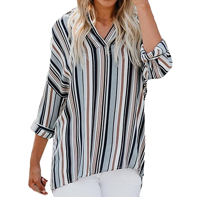 Manga Larga de Gasa para Mujer Stripe Print Fashion Bllouse Camiseta Blusa Camiseta sin Mangas ❤