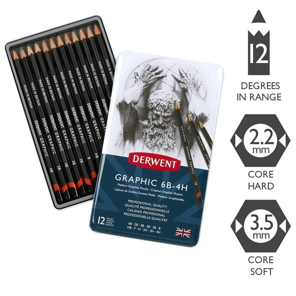 6B-4H Derwent Graphic Medium Graphite Pencils Set of 12