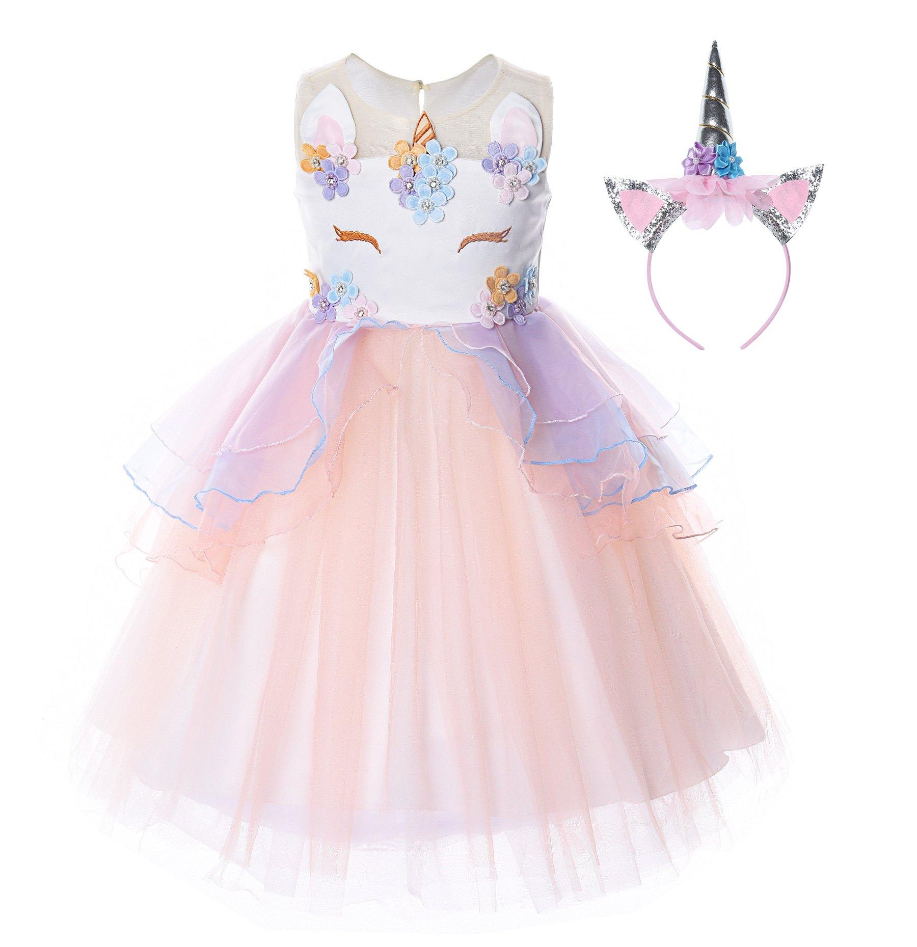 JerrisApparel Flower Girls Unicorn Costume Pageant Princess Party Dress (8-9 Years, Orange)