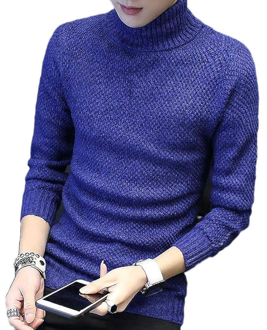 HTOOHTOOH Mens Winter Warm High Neck Long Sleeve Knit Pullover