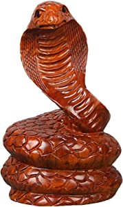 Statues Animal Art Sculpture,Snake Animal Figurine Office Home Jewelry Solid Wood Carving Crafts Art Decorations-Wood Carving 4.7inch