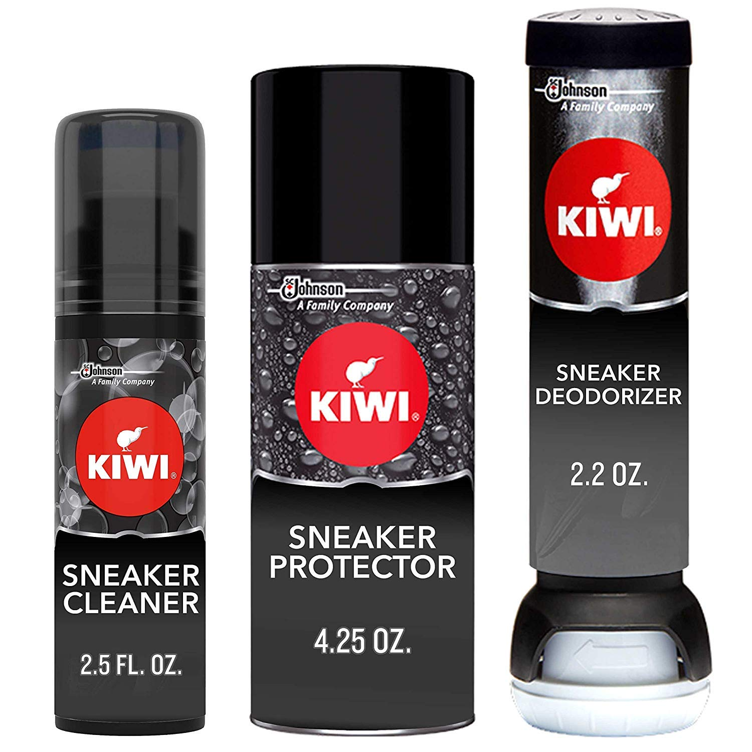KIWI Sneaker Care Kit - Cleans Shoes, Repels Stains and Removes Odors. 3-Step Sneaker Care System (Pack of 3)