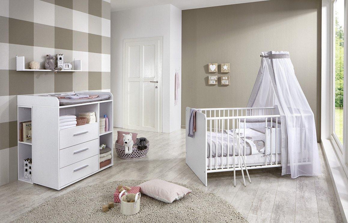 Babyzimmer weiß komplett  Babyzimmer / Kinderzimmer komplett Set KIM 4 in Weiß, Komplettset ...