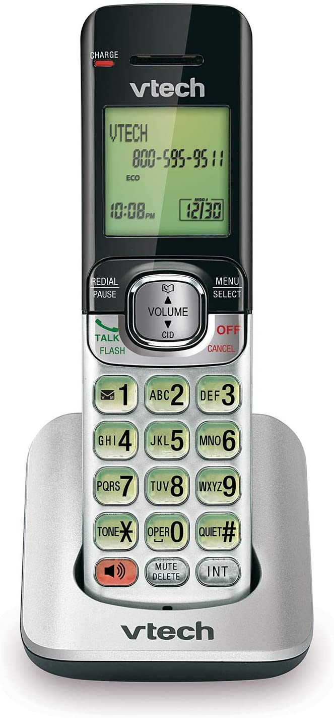 VTech CS6509 Accessory Cordless Handset, Silver/Black | Requires VTech CS6519 or CS6529 to Operate