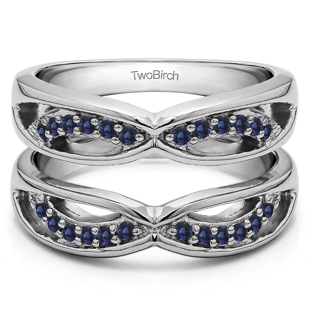 Silver Criss Cross Anniversary Style Jacket Ring Guard with Sapphire (0.24 ct. twt.)