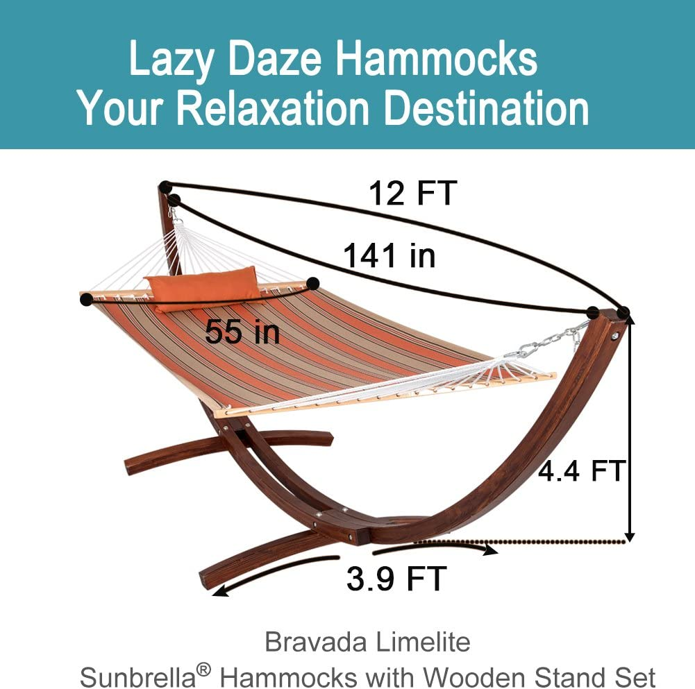 LazyDaze 12 ft Wood Arc Hammock Stand with 2 Person Hammock - Orange and Tan - 450 lb Weight Capacity
