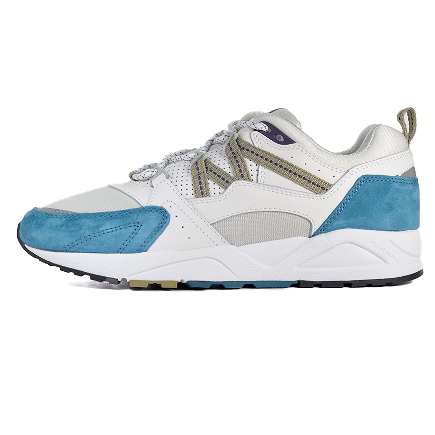 93b7af6343db7 Karhu Fusion 2.0 White Leather and Nylon Sneaker with Light-Blue ...