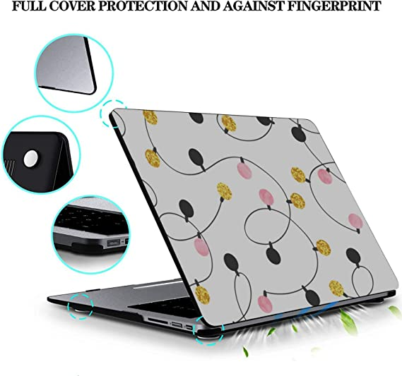 MacBook Computer Case Colorful Christmas Light Garland Plastic Hard Shell Compatible Mac Air 11 Pro 13 15 Mac Pro Case Protection for MacBook 2016-2019 Version