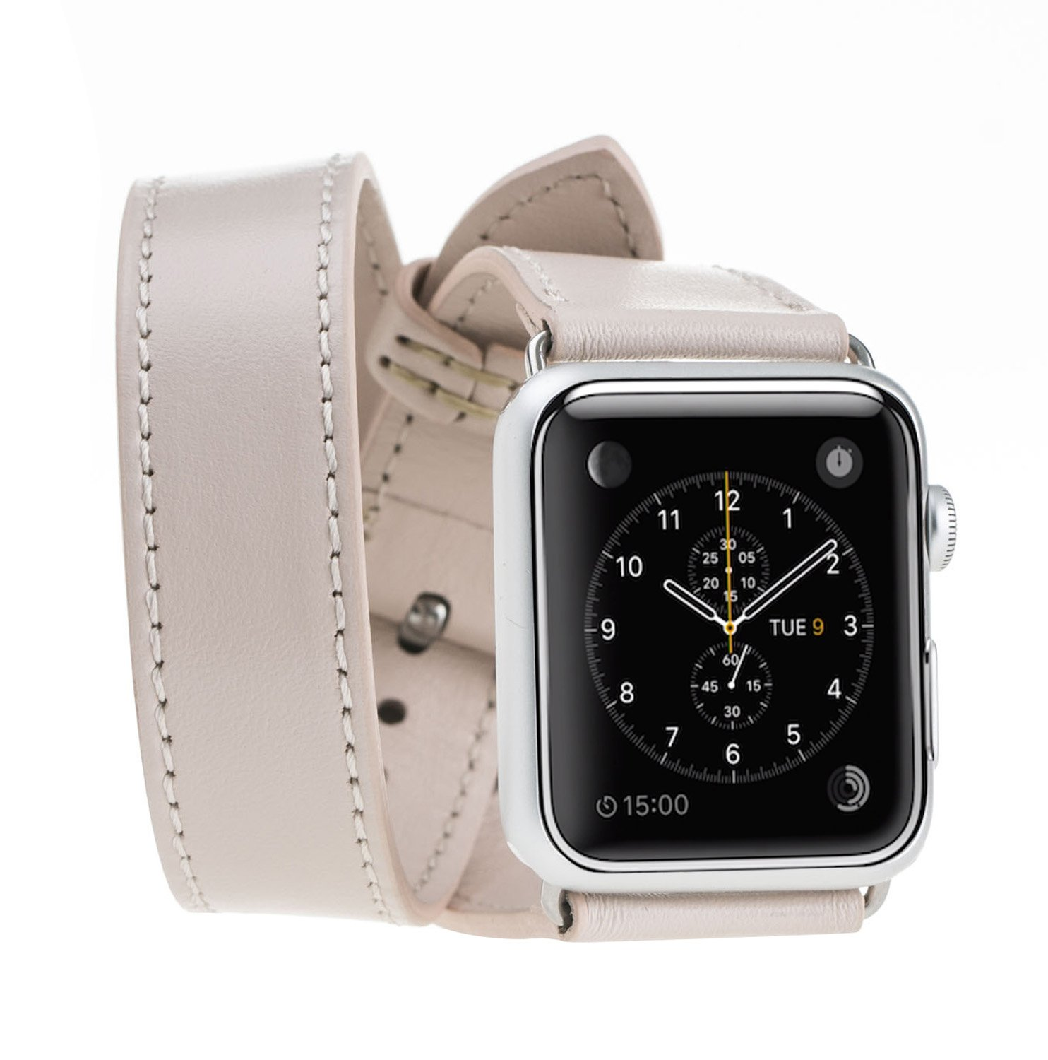 Apple Watch Band 42mm Double Tour BlueJay Genuine Handmade Premium Luxury Leather Replacement Strap, Band for Apple Watch 42mm Series 1 & 2 (Nude)