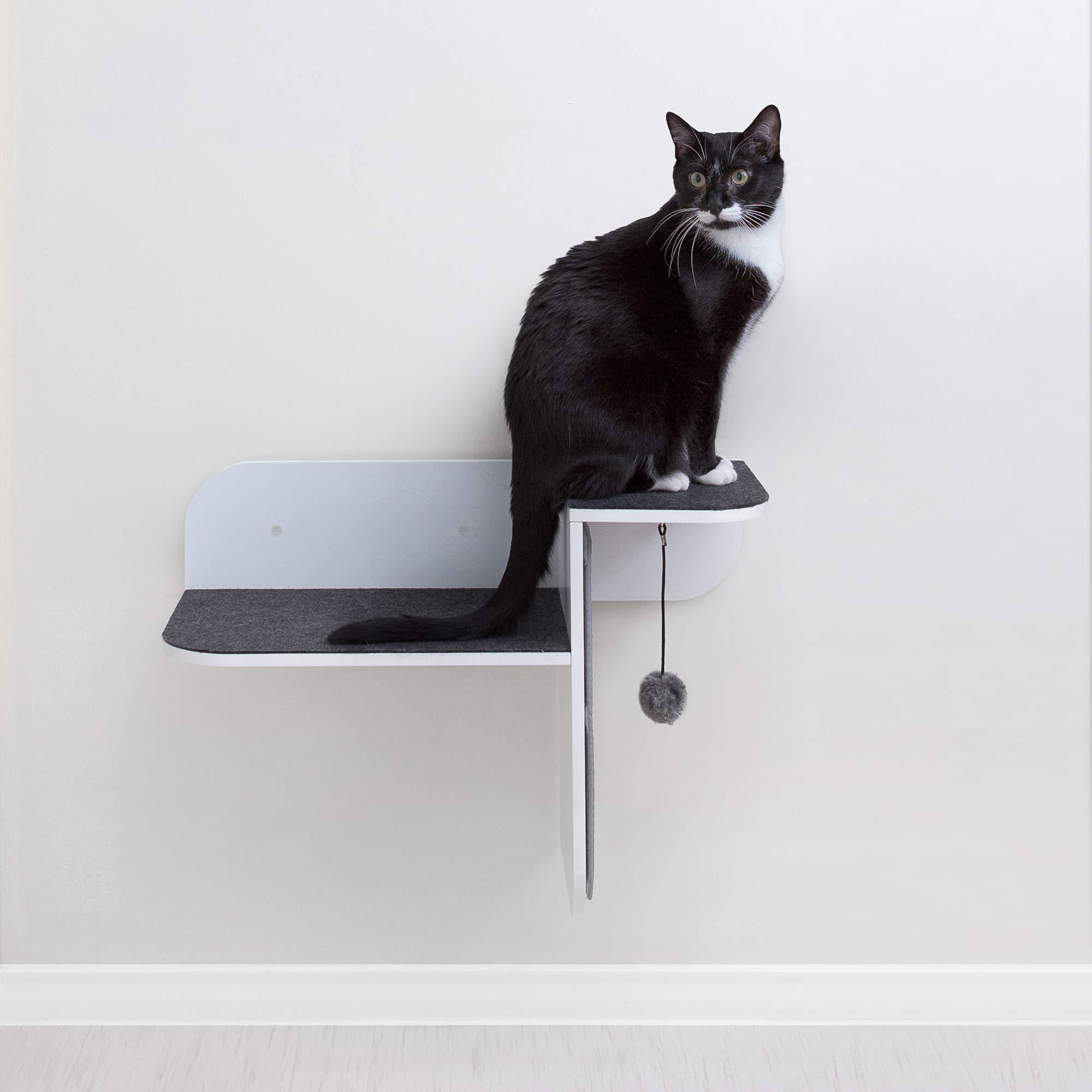 Primetime Petz Hauspanther Step Perch - Wall-Mounted Cat Perch & Scratcher, White by Primetime Petz