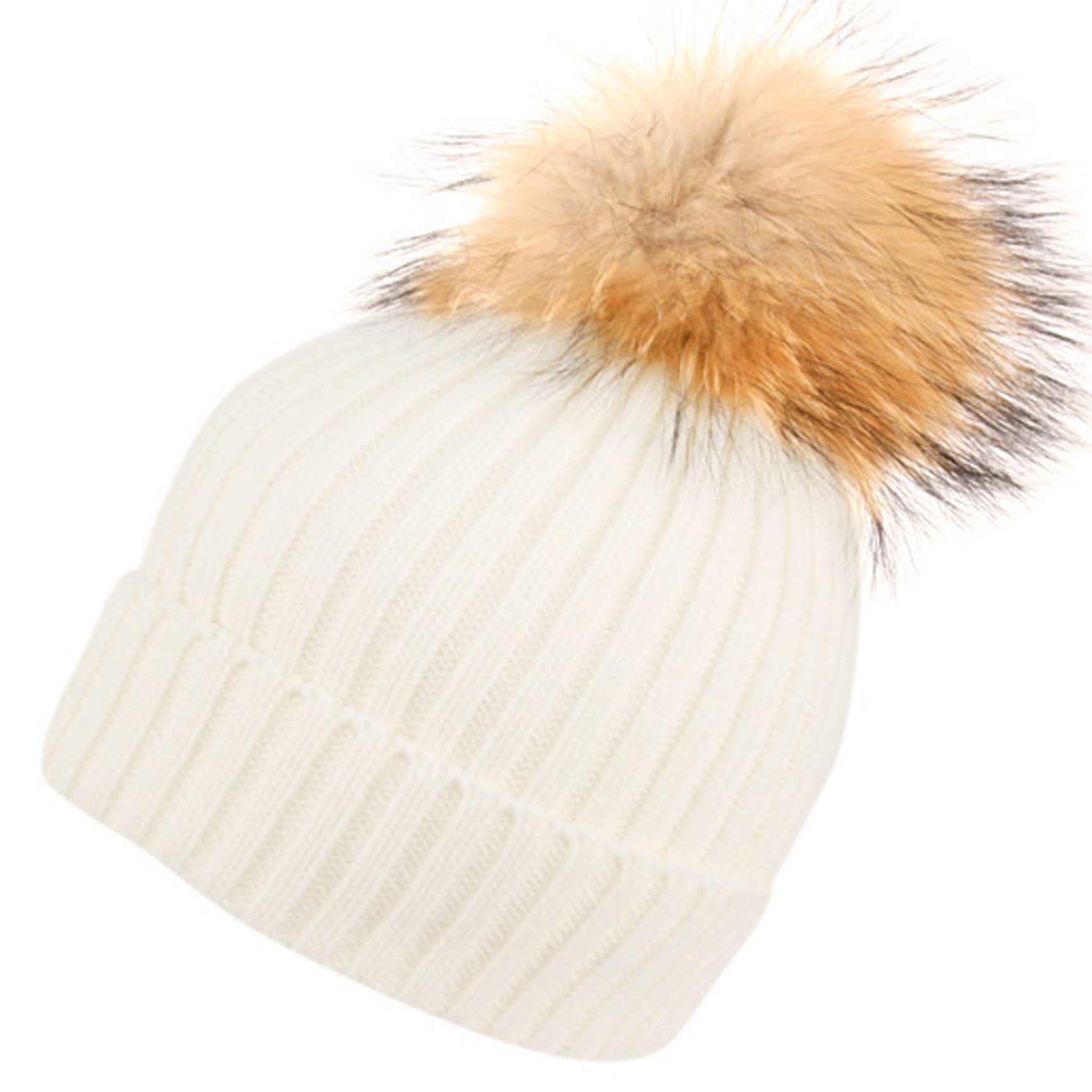 BN2356 Solid Cable Knit Real Raccoon Fur Pom Pom Skull Cap Hat Beanie (WHITE)