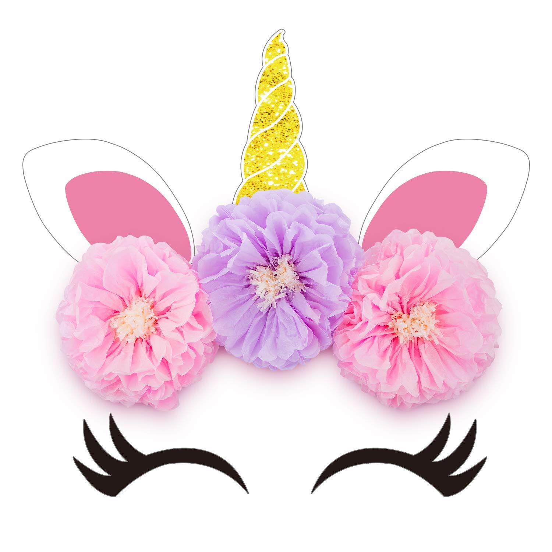 Unicorn Backdrop Party Supplies Decorations - Paper Tissue Flower Decor